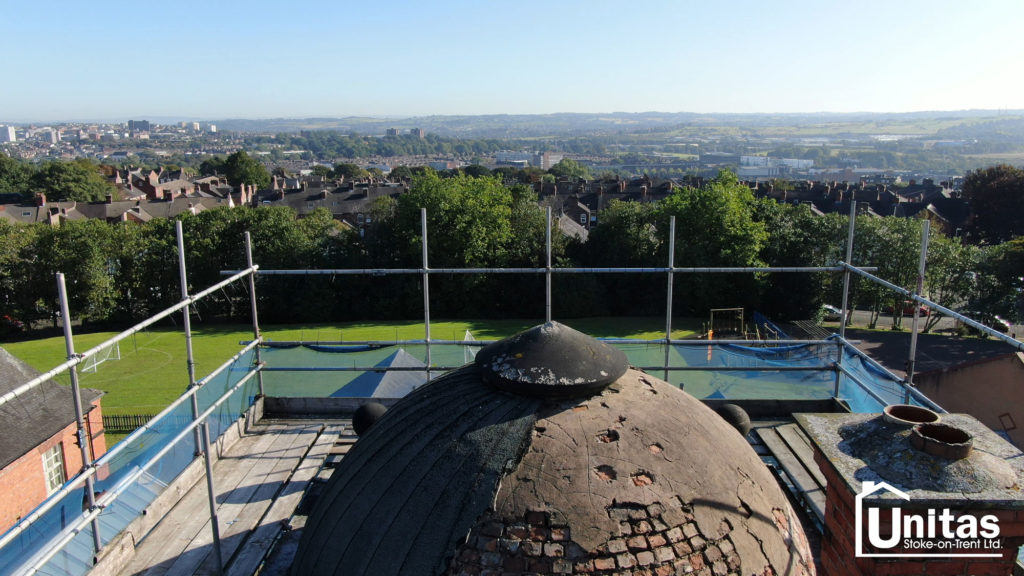 Footage from a Unitas drone identifying repairs to the original domes and roof areas of a Grade I listed building built in 1803 by the late Josiah Spode II.