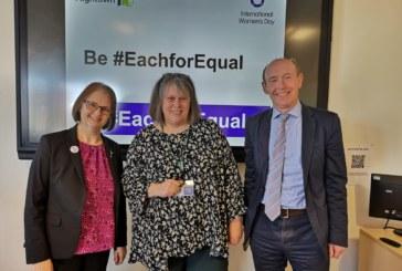 Alison Inman marks International Women's Day celebration with staff at Hightown Housing Association