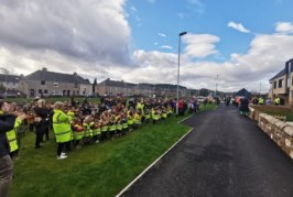 Pupils at Merkinch Primary School in Inverness thank Robertson Construction for their new school